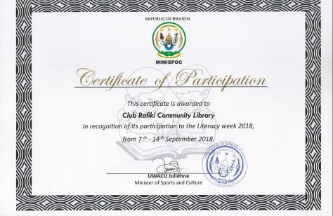 certificate CluB Rafiki Library