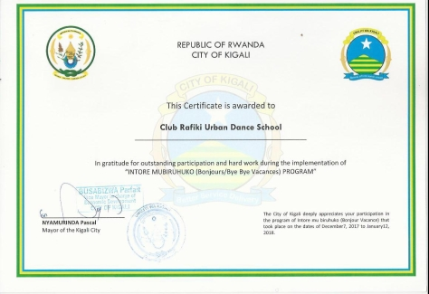 certificate URBAN Dance